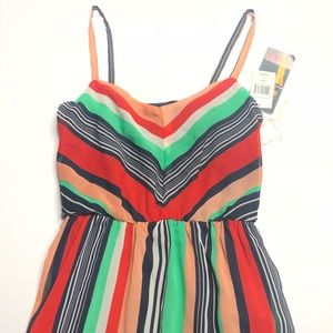 NWT Ruby Rox Colorful Pinstripe Maxi Tank Dress